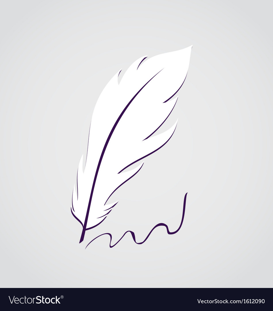 White feather calligraphic pen isolated vector | Price: 1 Credit (USD $1)