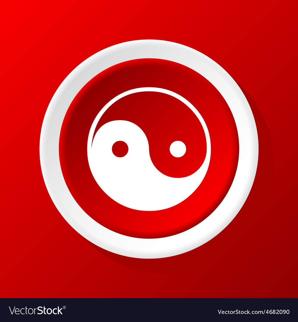 Ying yang icon on red vector | Price: 1 Credit (USD $1)