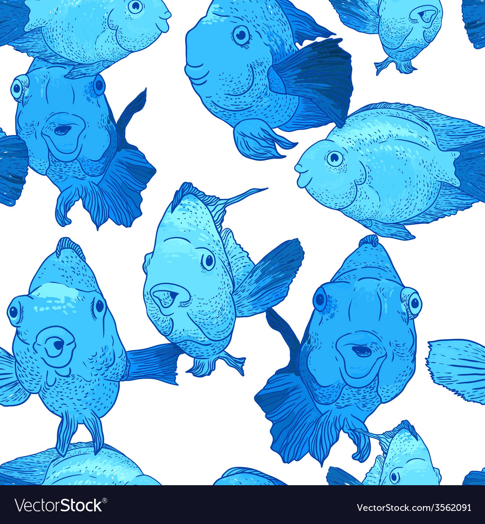 Colorful seamless background with fish vector | Price: 1 Credit (USD $1)