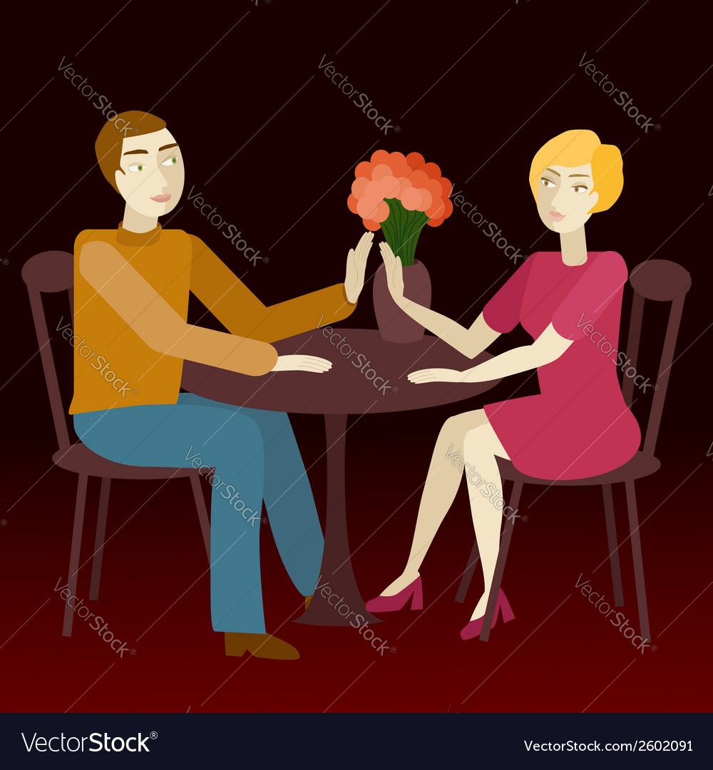 Couple in love sitting vis-a-vis vector | Price: 1 Credit (USD $1)