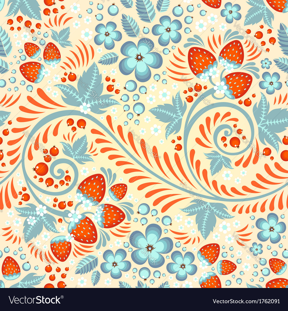 Festive khokhloma seamless pattern vector | Price: 1 Credit (USD $1)