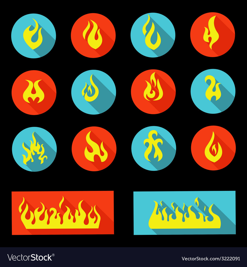Flame icon set - vector | Price: 1 Credit (USD $1)