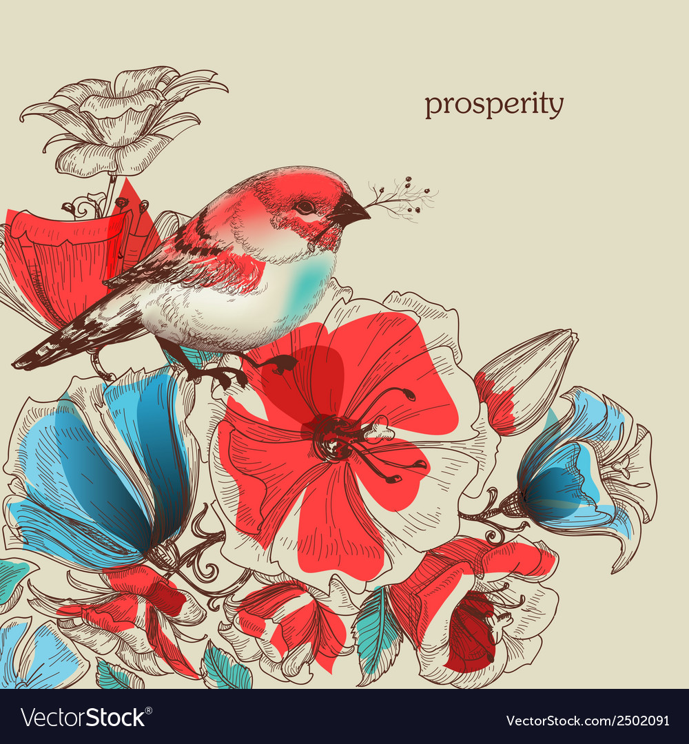 Flowers and bird greeting card prosperity vector | Price: 1 Credit (USD $1)