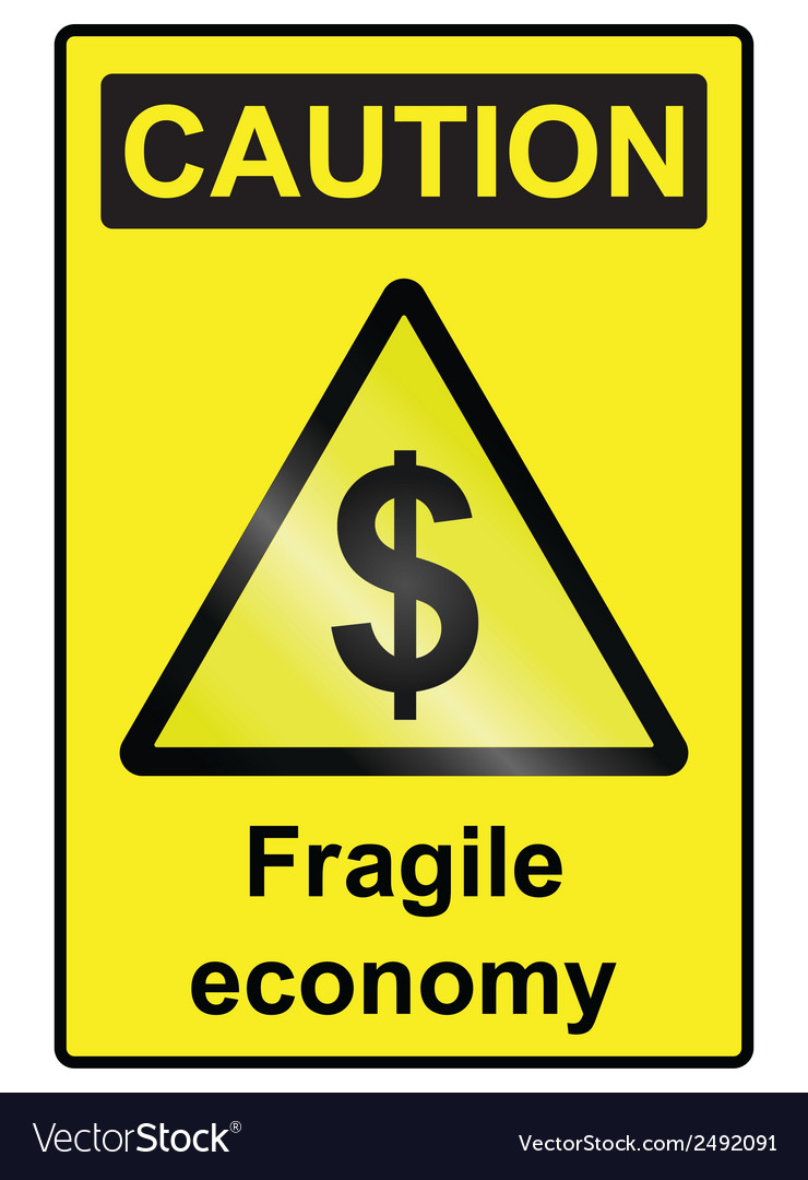 Fragile economy dollar hazard sign vector | Price: 1 Credit (USD $1)