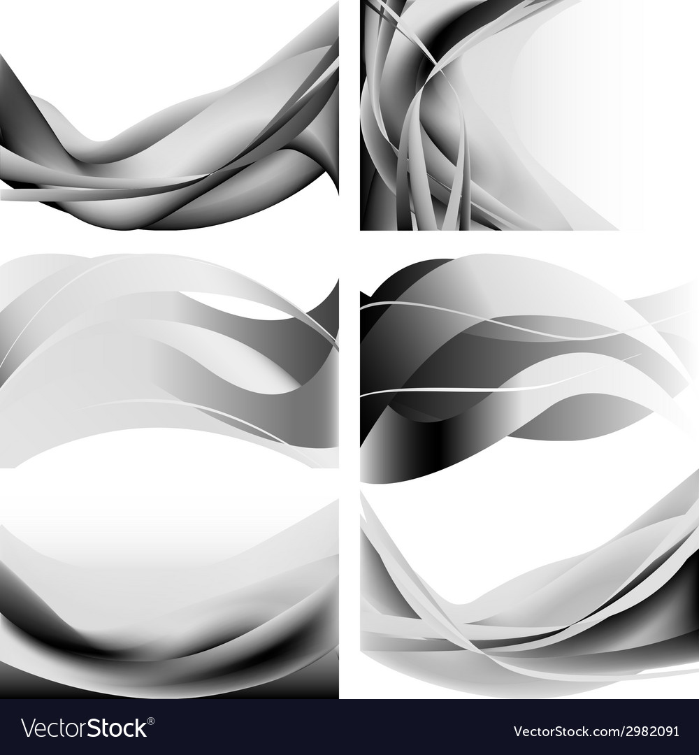 Gray abstract waves flames isolated set vector | Price: 1 Credit (USD $1)