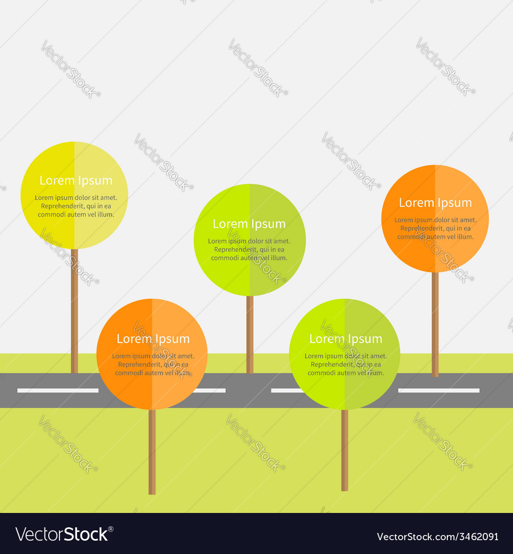 Infographic with road green and orange tree sun vector | Price: 1 Credit (USD $1)