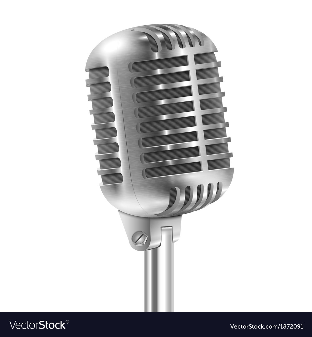 Isolated on white metallic retro microphone vector | Price: 1 Credit (USD $1)