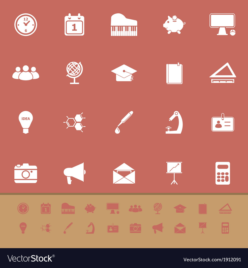 School color icons on brown background vector | Price: 1 Credit (USD $1)