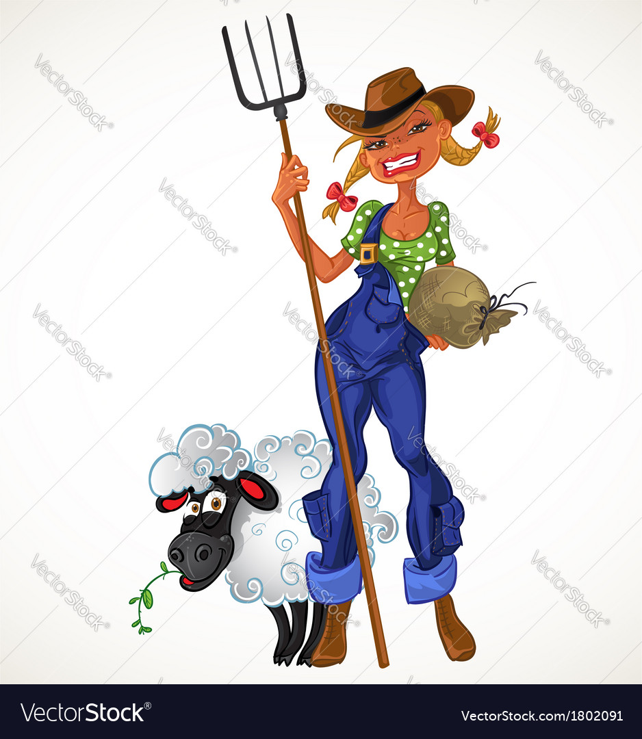 Sexy farm girl with agricultural implements and vector | Price: 3 Credit (USD $3)