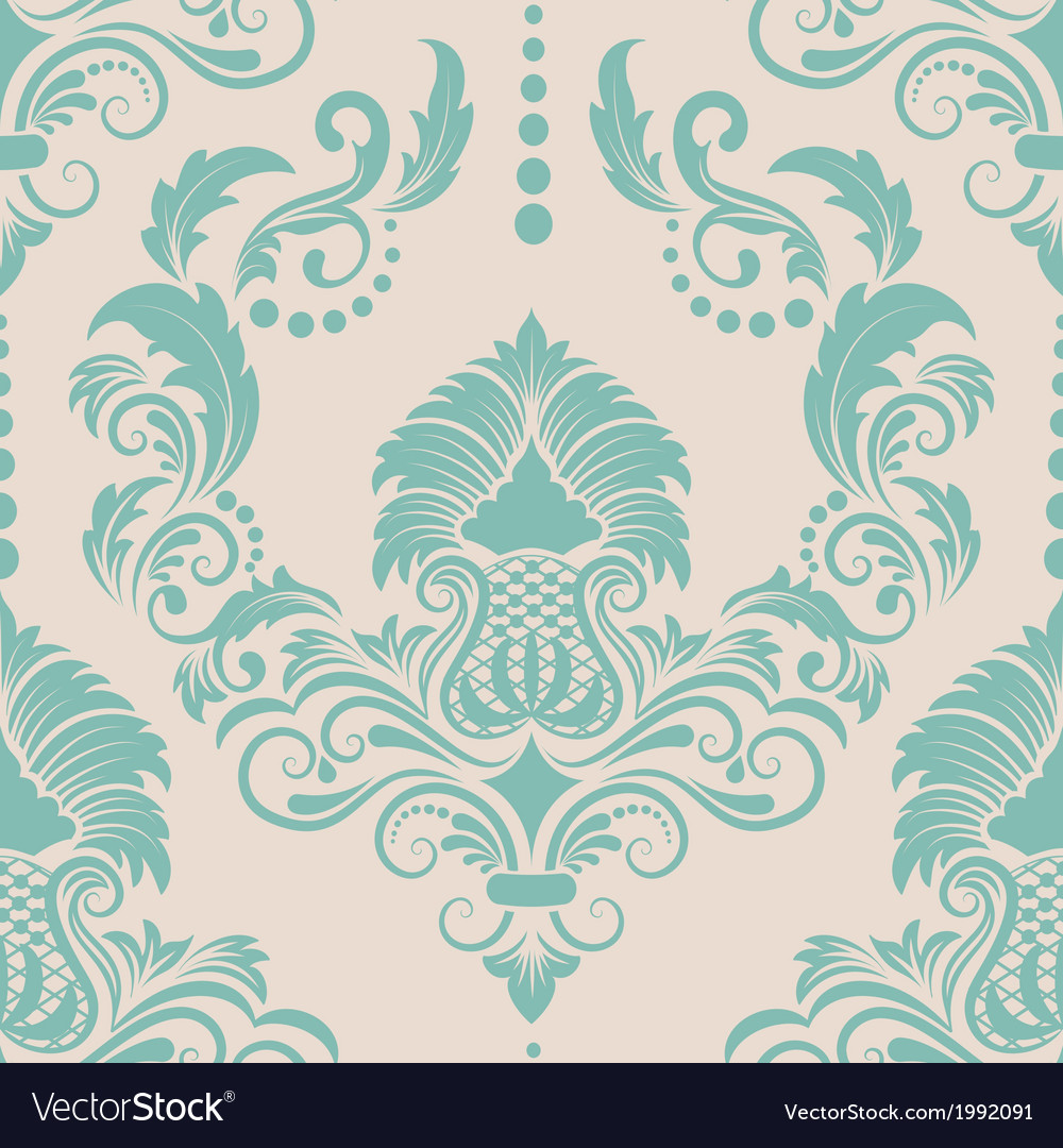 Vintage damask seamless pattern element vector | Price: 1 Credit (USD $1)