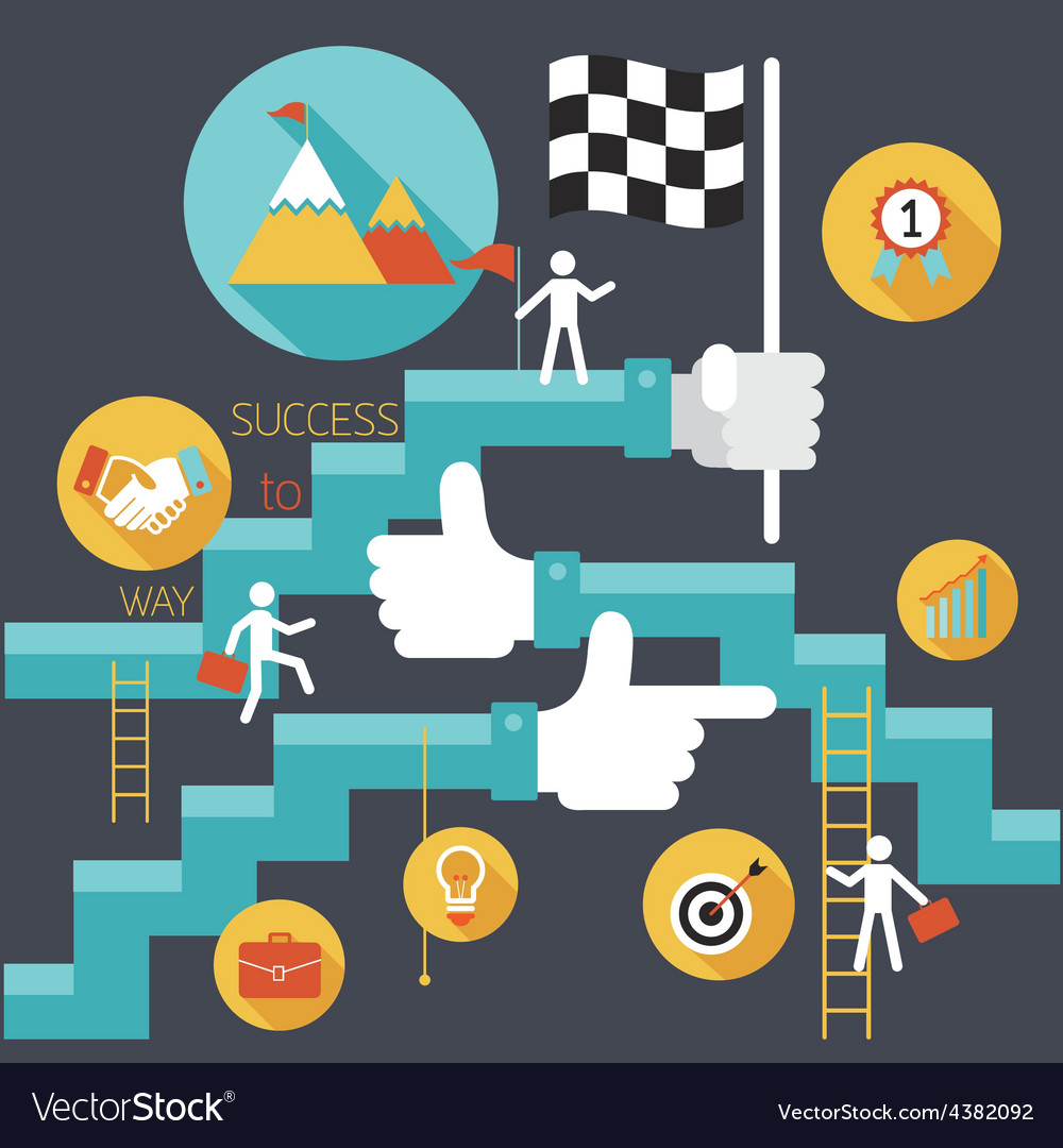 Business concept stairway to success vector | Price: 1 Credit (USD $1)