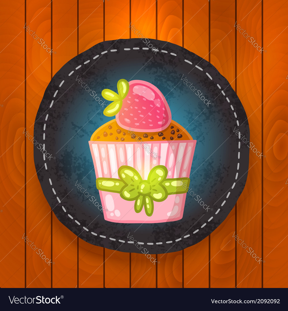 Cupcake with chocolate and strawberry vector | Price: 1 Credit (USD $1)