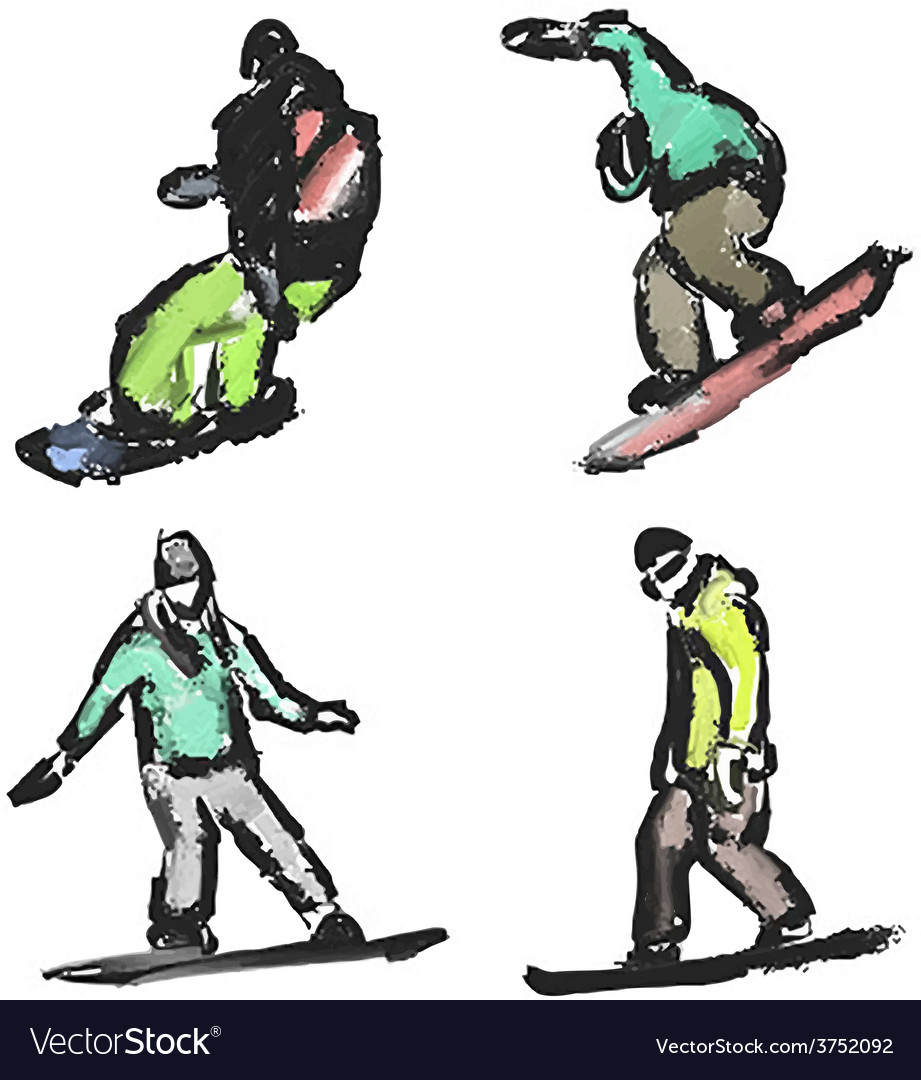 Drawn snowboarders vector | Price: 1 Credit (USD $1)