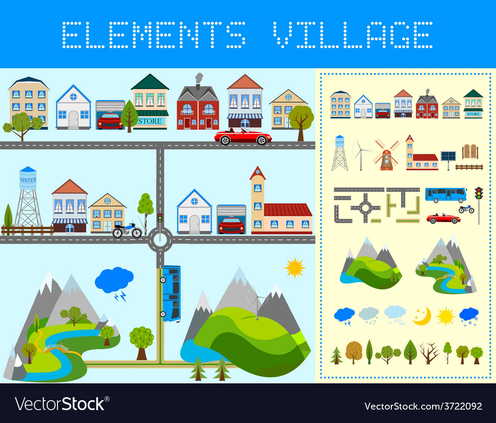 Elements of the modern village vector | Price: 1 Credit (USD $1)