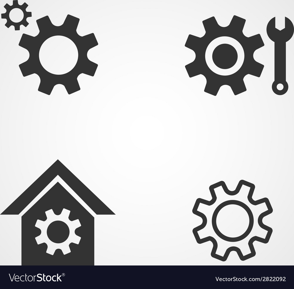Gear icons set flat design vector | Price: 1 Credit (USD $1)