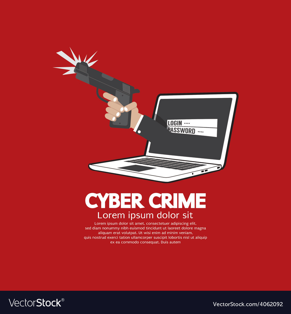 Gun in hand cyber crime concept vector | Price: 1 Credit (USD $1)
