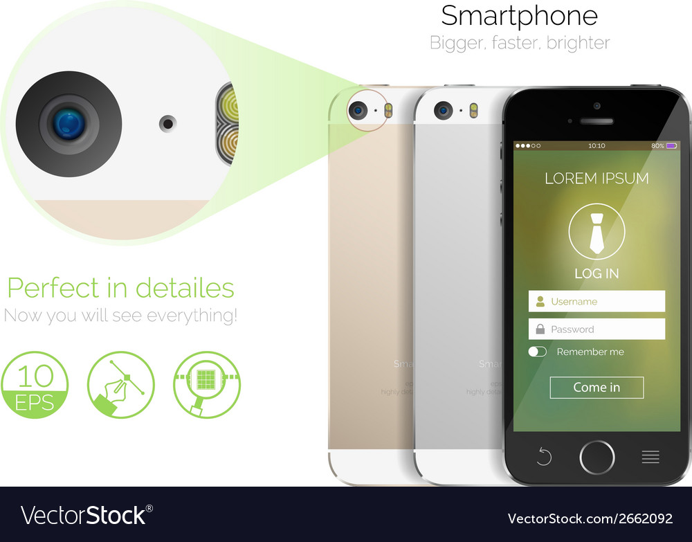 Highly detailed smartphone vector | Price: 1 Credit (USD $1)