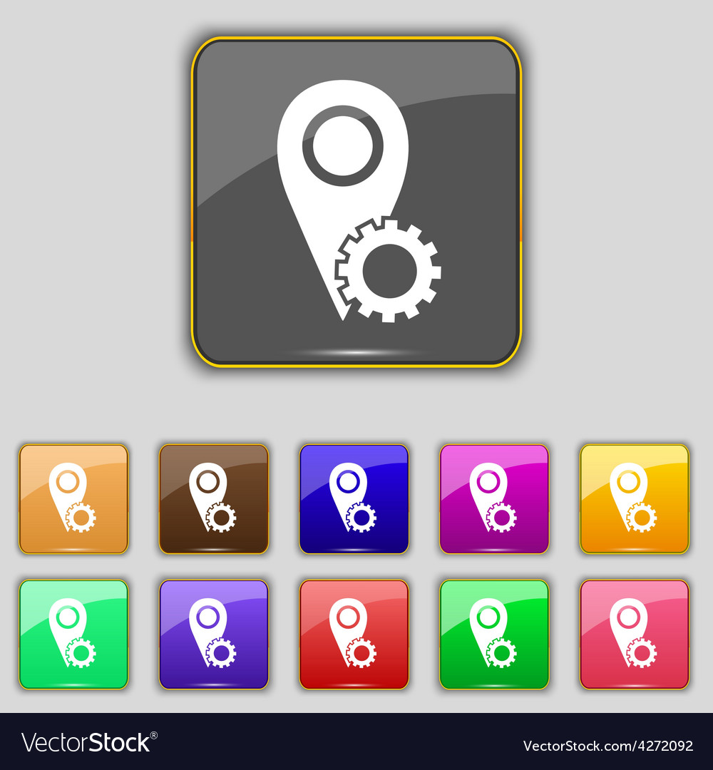 Map pointer setting icon sign set with eleven vector | Price: 1 Credit (USD $1)