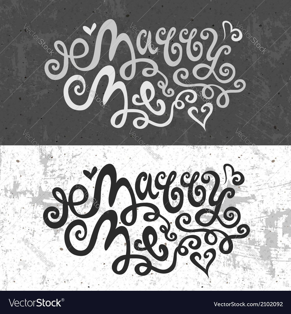 Marry me hand lettering vector | Price: 1 Credit (USD $1)