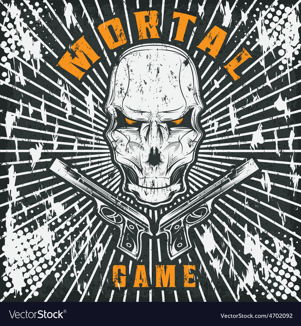 Mortal game with skull and guns vector | Price: 1 Credit (USD $1)