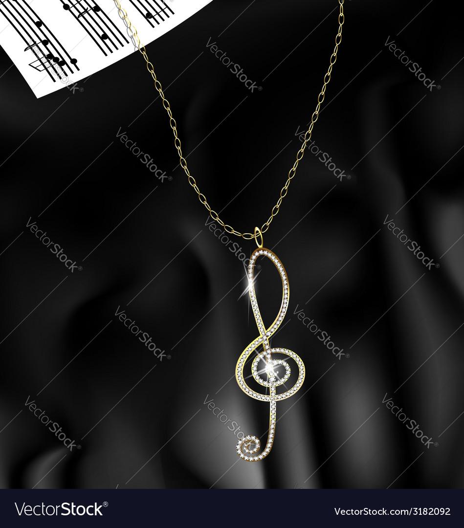 Pendant treble clef vector | Price: 1 Credit (USD $1)