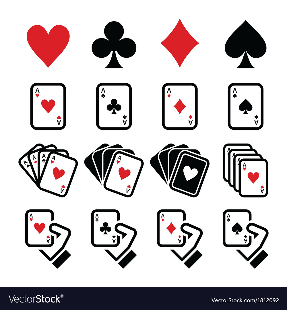 Playing cards poker gambling icons set vector | Price: 1 Credit (USD $1)