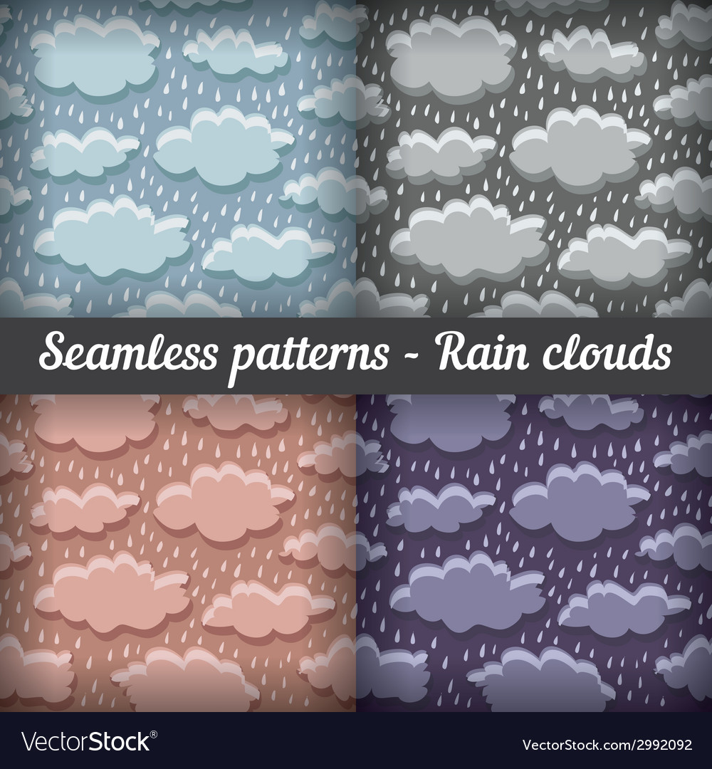 Rain clouds storm seamless pattern set vector | Price: 1 Credit (USD $1)