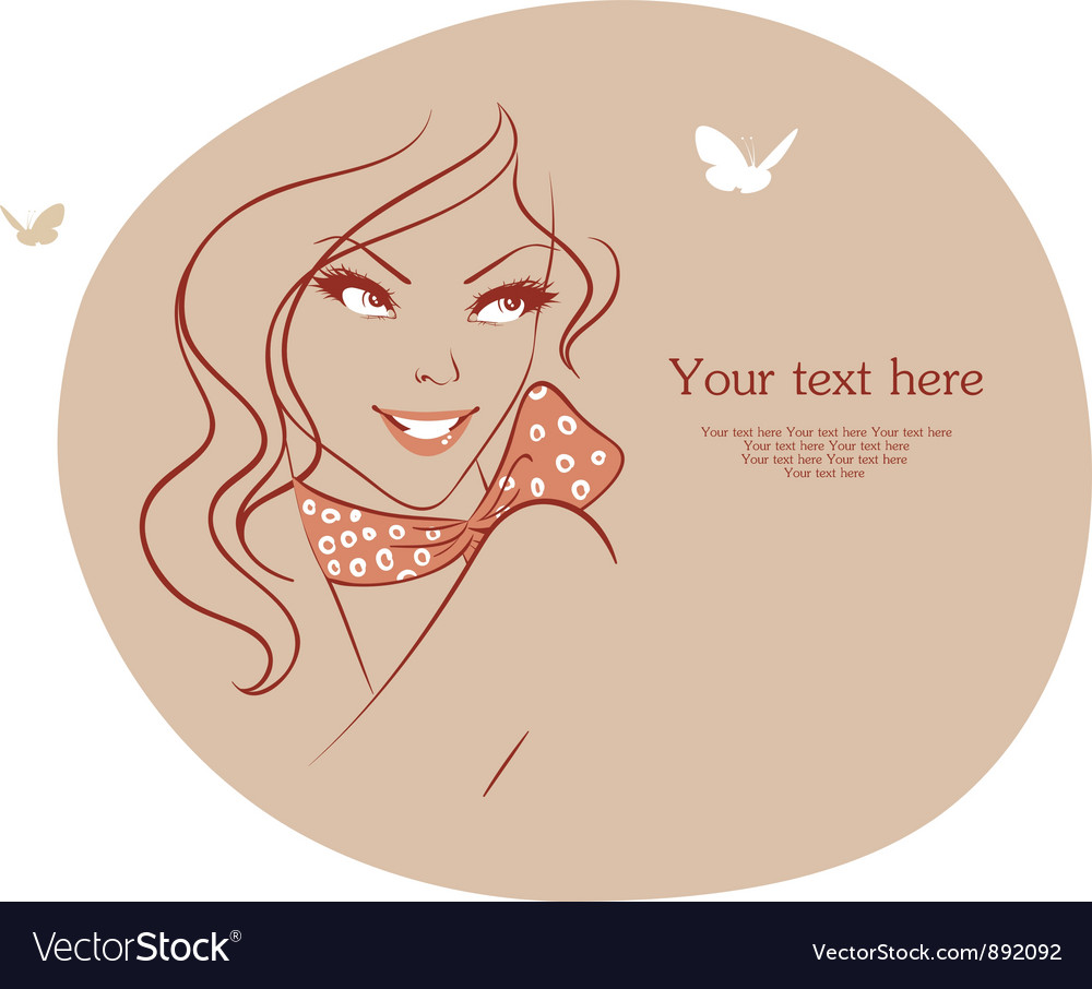 Woman with butterfly vector | Price: 1 Credit (USD $1)