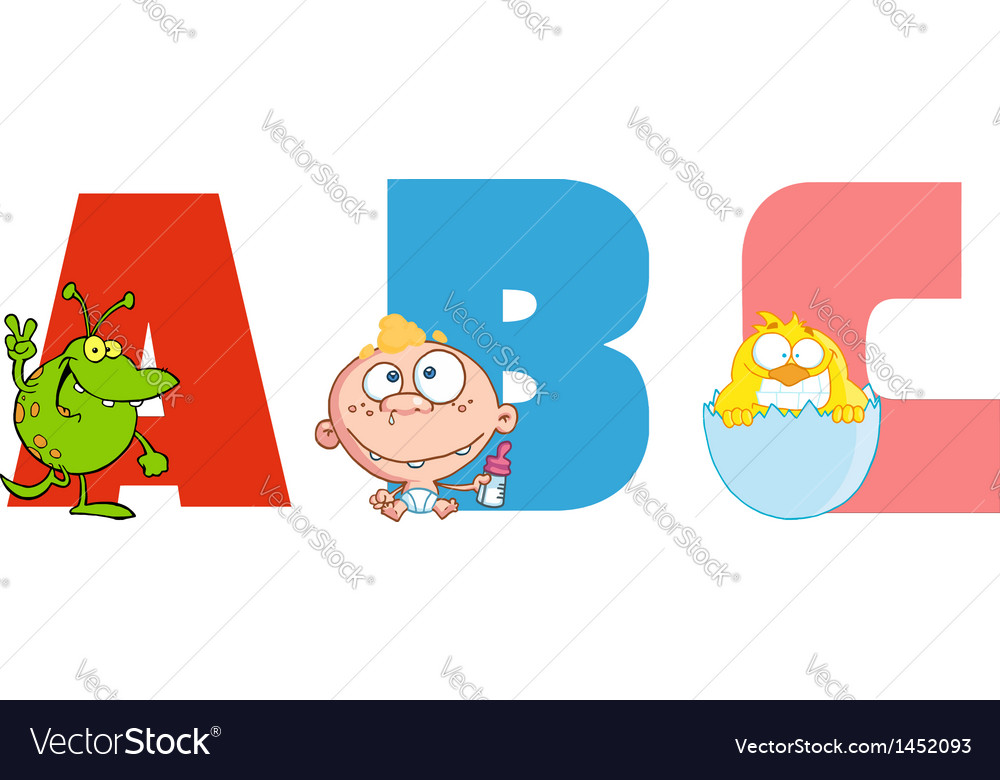 Abc joyful cartoon alphabet vector | Price: 3 Credit (USD $3)