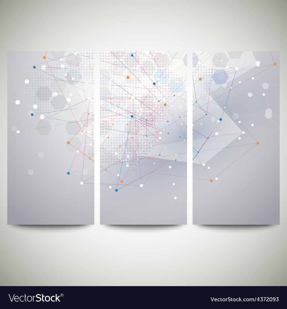 Abstract flyers set molecular design vector | Price: 1 Credit (USD $1)
