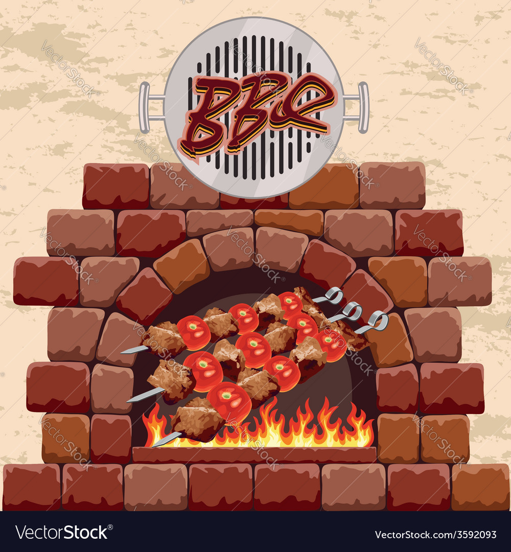 Barbecue in the fireplace vector | Price: 1 Credit (USD $1)