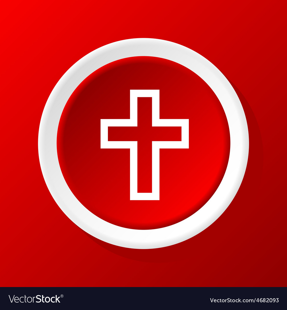 Christian cross icon on red vector | Price: 1 Credit (USD $1)