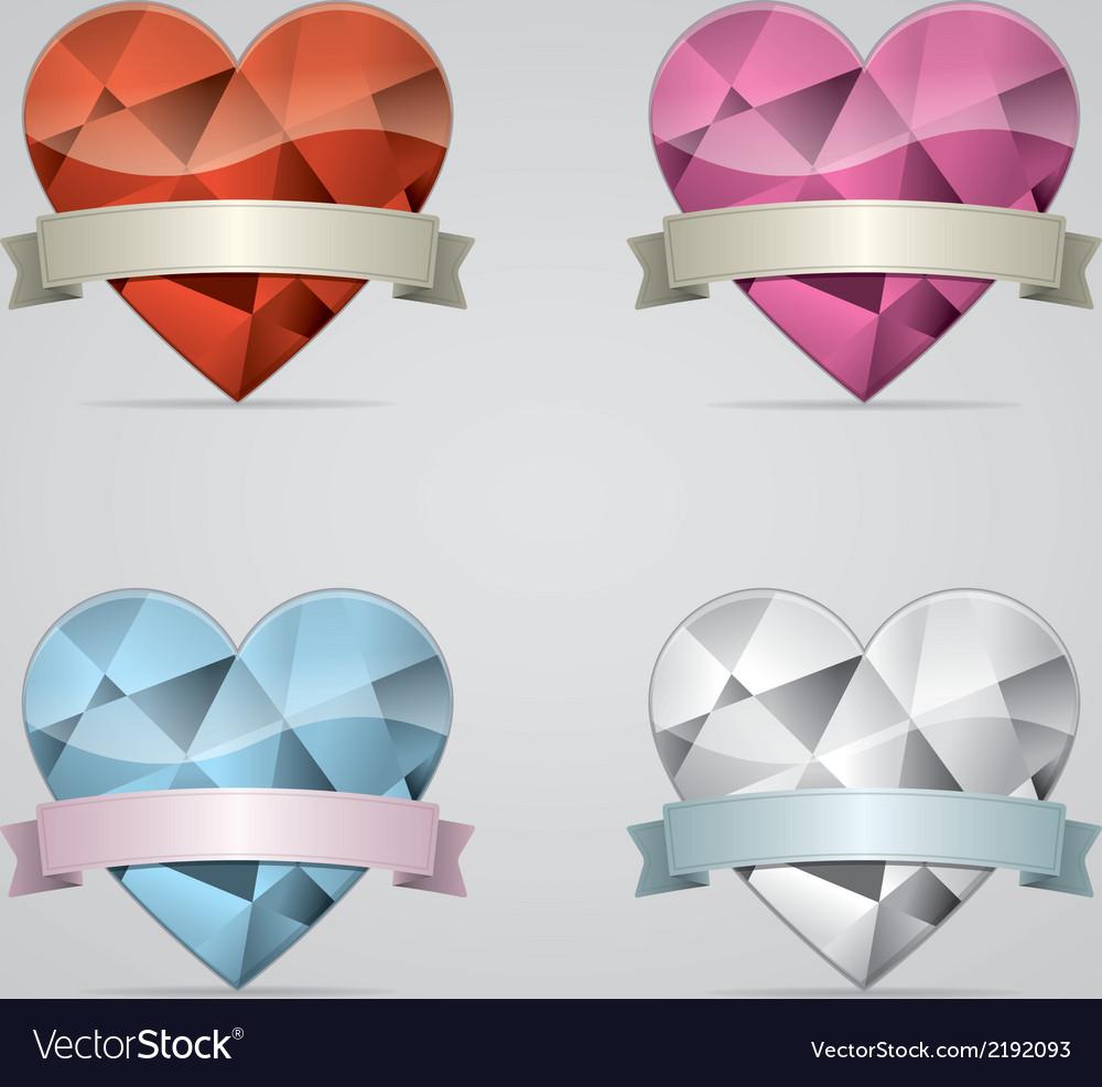 Diamond heart with ribbon set vector   Price: 1 Credit (USD $1)