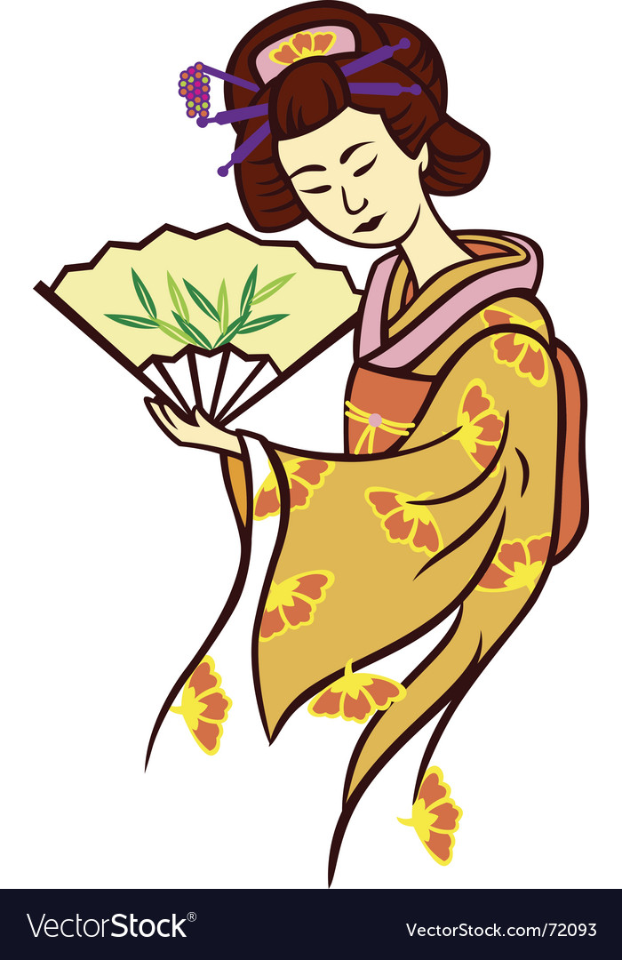 Geisha dance fan vector | Price: 1 Credit (USD $1)