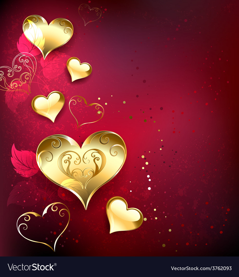 Golden hearts on red background vector | Price: 3 Credit (USD $3)