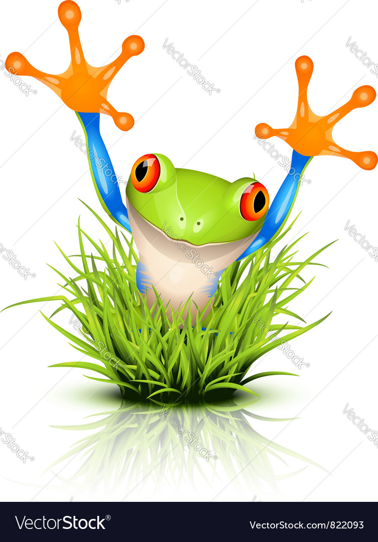 Little frog in grass vector | Price: 1 Credit (USD $1)