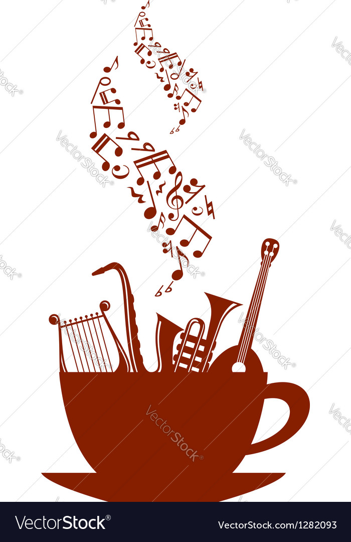 Musical cup of tea or coffee vector | Price: 1 Credit (USD $1)
