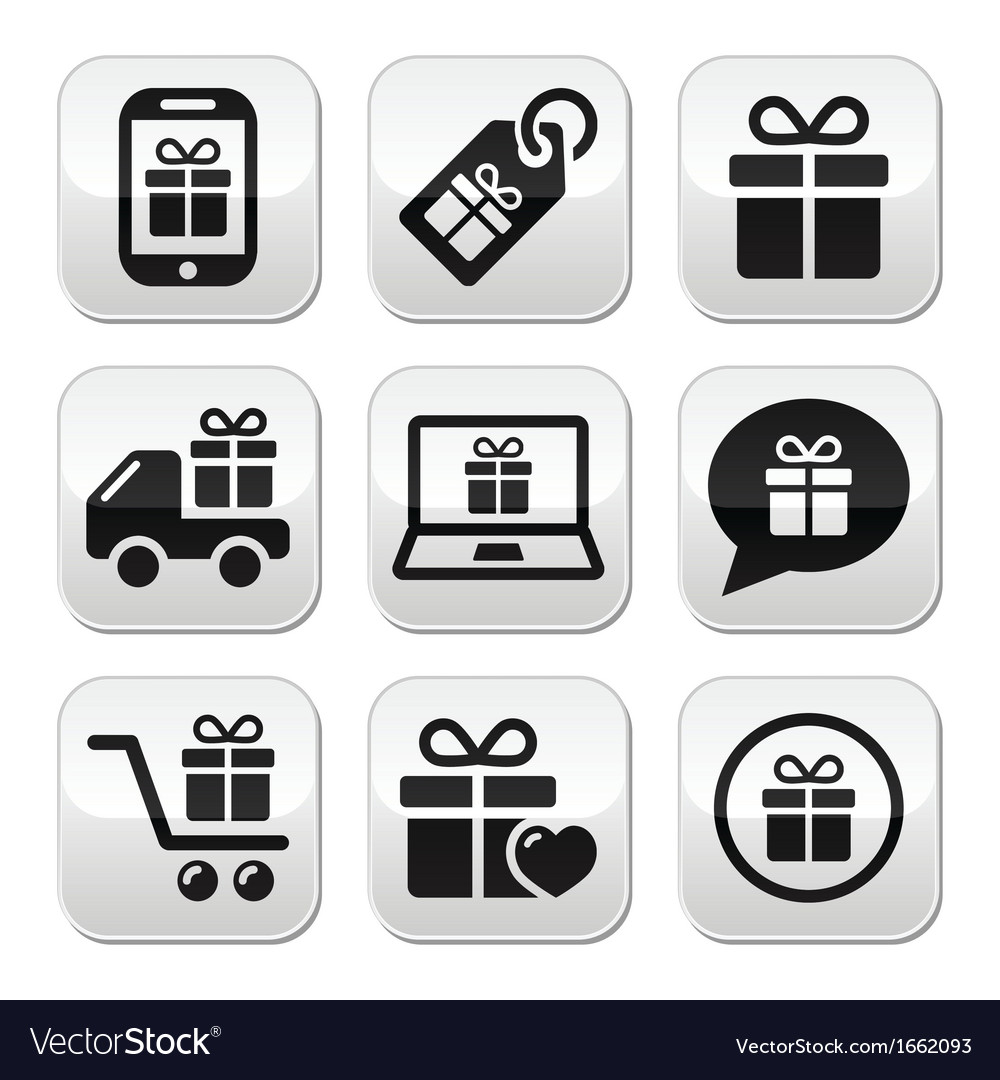 Present shopping buttons set vector | Price: 1 Credit (USD $1)
