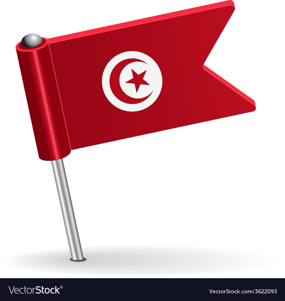 Tunisia pin icon flag vector | Price: 1 Credit (USD $1)