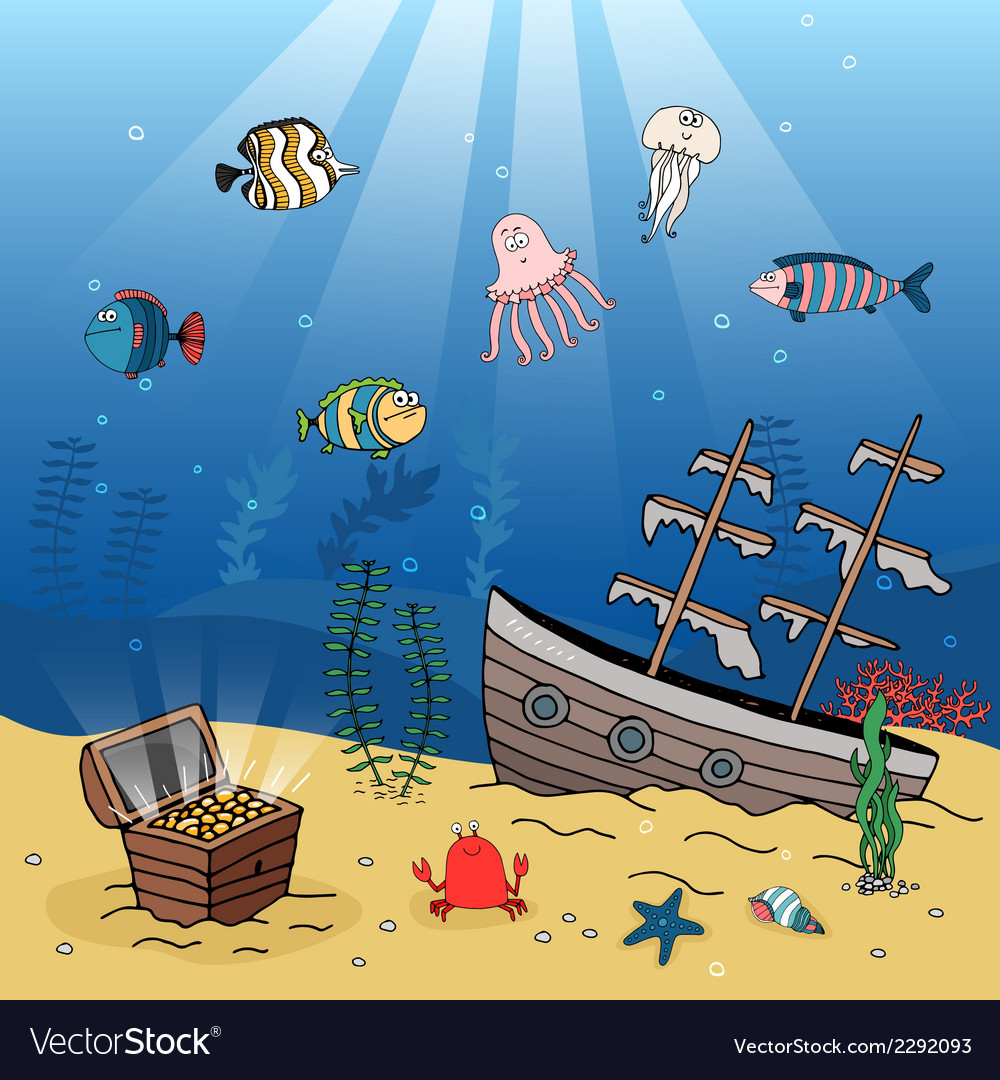 Underwater scene of a sunken ship and treasure vector | Price: 1 Credit (USD $1)