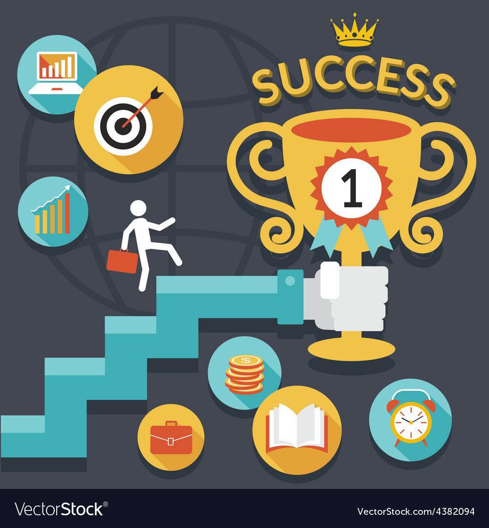 Business concept stairway to success trophy vector | Price: 1 Credit (USD $1)