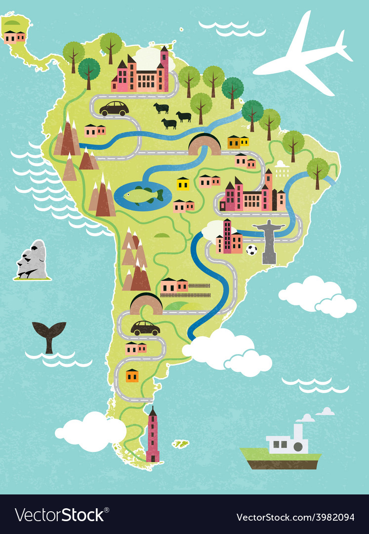 Cartoon map of south america vector | Price: 1 Credit (USD $1)