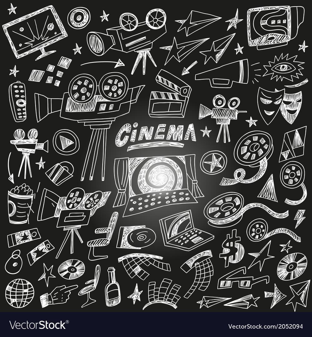 Cinema doodles vector   Price: 1 Credit (USD $1)