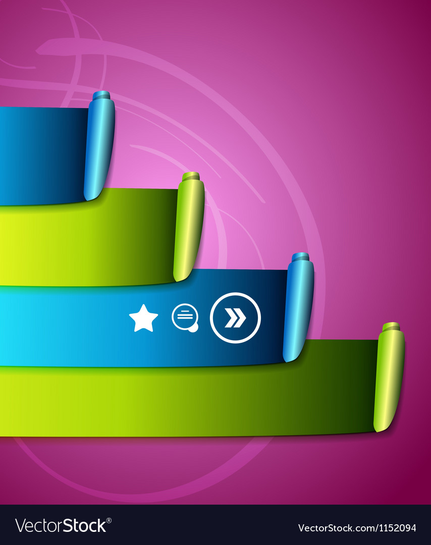 Colorful scroll ribbons infographic design vector | Price: 1 Credit (USD $1)