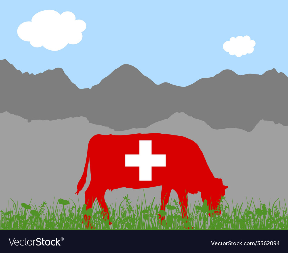 Cow alp and swiss flag vector | Price: 1 Credit (USD $1)