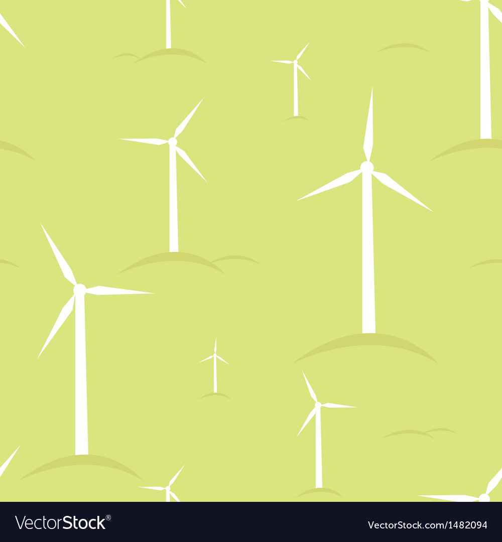 Ecological modern windmills seamless pattern vector | Price: 1 Credit (USD $1)
