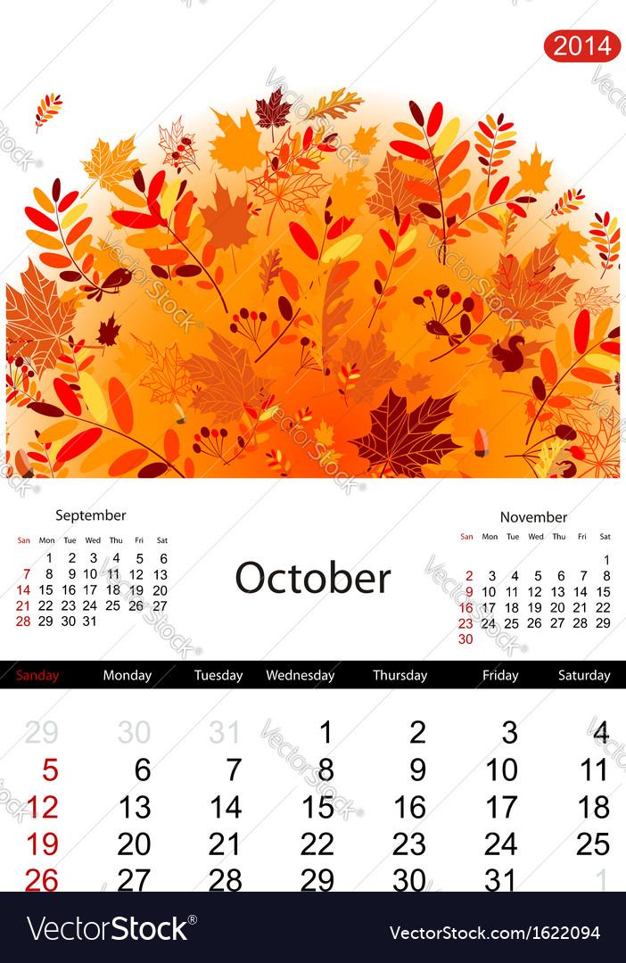 Floral calendar 2014 october vector | Price: 1 Credit (USD $1)