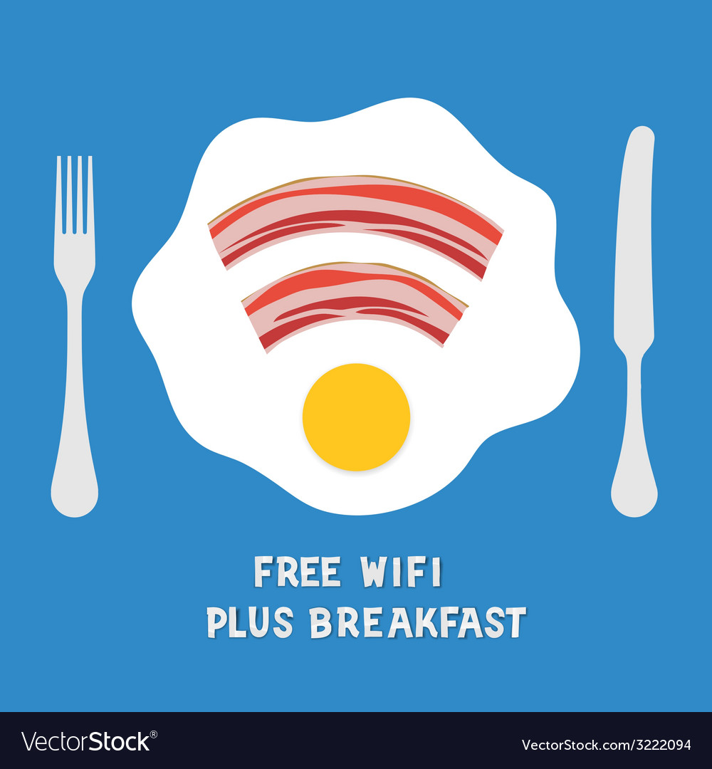 Free wifi area sign on a plate with fried egg vector | Price: 1 Credit (USD $1)