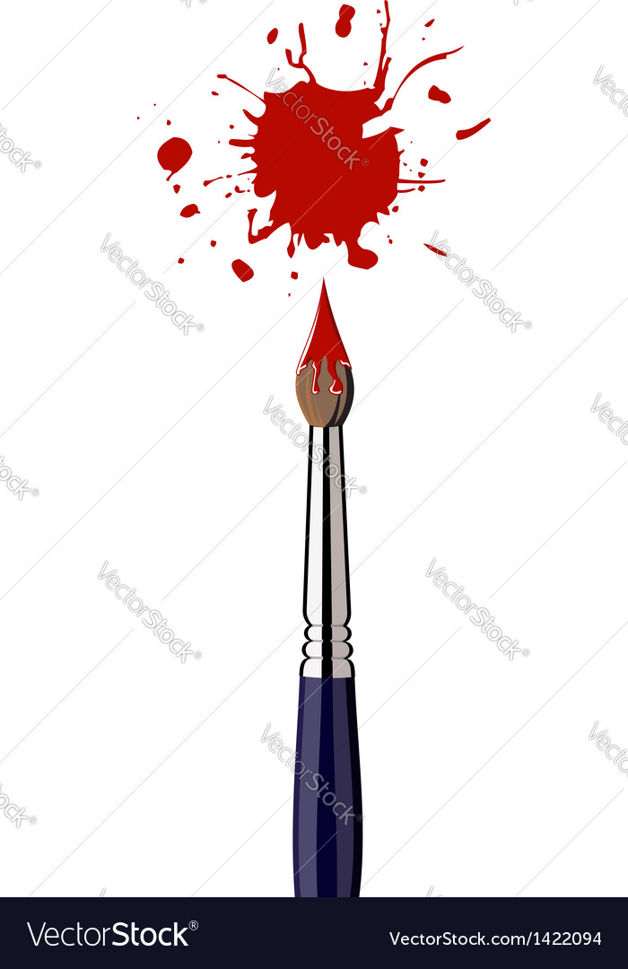 Paint brush with red color splash vector | Price: 1 Credit (USD $1)