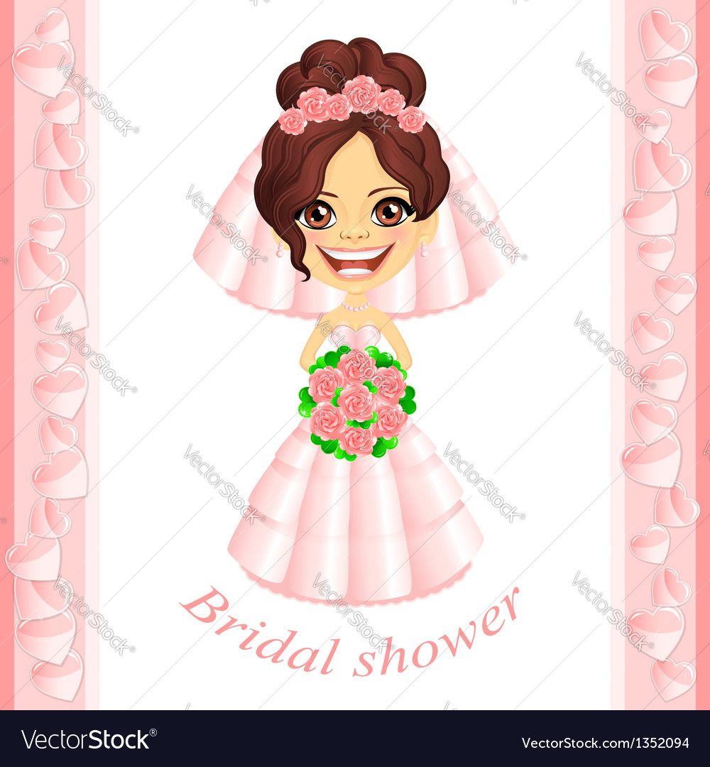 Pink bridal shower invitation vector | Price: 3 Credit (USD $3)